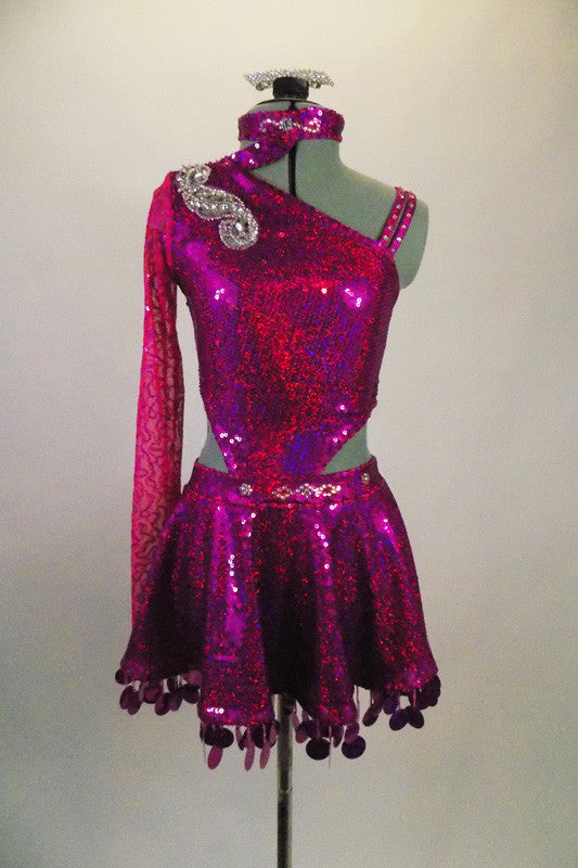 Fuchsia one sleeved costume has cut-out sides that attach at right hip. Back has angled straps, & sequined shoulder applique. Skirt has large dangling sequins. Comes with crystal hair barrette. Front