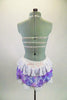 White bra has beaded lace with white chiffon & is embellished with crystal brooch accent. Skirts has purple & white chiffon ruffles & large beaded appliques. Comes with crystal hair comb. Back