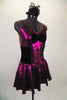 Fuchsia metallic camisole dress has full skirt with brief. Front is embellished with black velvet bow. Has black velvet corset belt & mini top-hat accessory. Right side