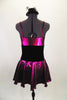 Fuchsia metallic camisole dress has full skirt with brief. Front is embellished with black velvet bow. Has black velvet corset belt & mini top-hat accessory. Back