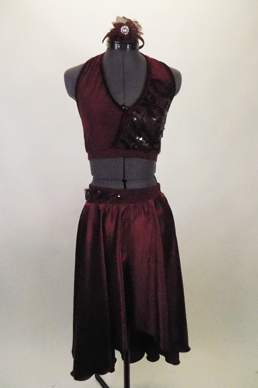 Deep maroon, 2-piece lyrical costume has flowing shimmery high-low skirt with attached brief & halter bra-top has angled back gossamer straps. Comes with matching hair accessory. Front