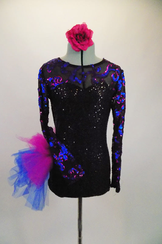 Black sequined leotard with sweetheart neckline has sheer black mesh upper with long sleeves covered in blue & magenta sequined swirls & large right hip pouf. Comes with matching floral hair accessory. Front