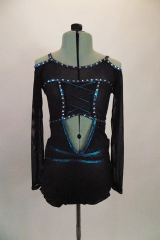 Back brief-cut leotard has banded leg & teal, crystalled edging. Costume has open center front/back, corset bust & sheer upper with off-shoulder long sleeves. Front