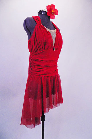 Pretty Red 2-piece has a halter leotard back scarf tie. Front has gathered bust and nude mesh The wide ruched waist  comes to hip and sheer skirt is removable. Comes with floral hair accessory. Right side