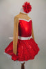 Red 2-piece crystal covered costume has sweetheart neck, nude sheer, upper, sleeves & keyhole back The skirt is a red sequined with crystal buckle & back bow. Comes with hair accessory. Side