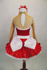 Red 2-piece crystal covered costume has sweetheart neck, nude sheer, upper, sleeves & keyhole back The skirt is a red sequined with crystal buckle & back bow. Comes with hair accessory. Back