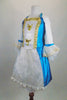 Marie Antoinette, 3-piece white & turquoise costume has beaded gold ribbon & sequined appliques. Comes with lace cuffed shrug, bloomers & Renaissance style wig. Side