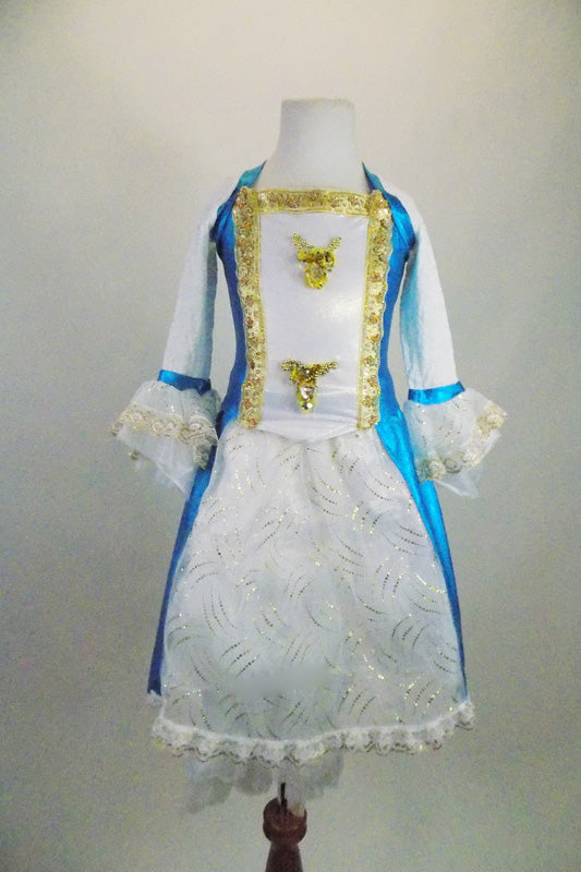 Marie Antoinette, 3-piece white & turquoise costume has beaded gold ribbon & sequined appliques. Comes with lace cuffed shrug, bloomers & Renaissance style wig. Front