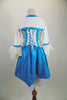 Marie Antoinette, 3-piece white & turquoise costume has beaded gold ribbon & sequined appliques. Comes with lace cuffed shrug, bloomers & Renaissance style wig. Back