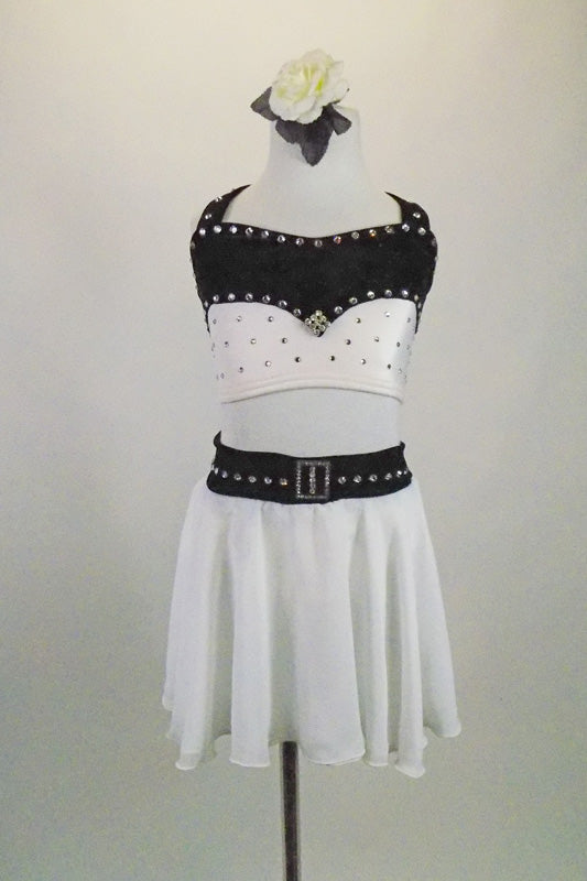 Black & white two-piece costume has crystal covered half top of white & black velvet comes with white chiffon shirt that a has black velvet crystalled belt. Front