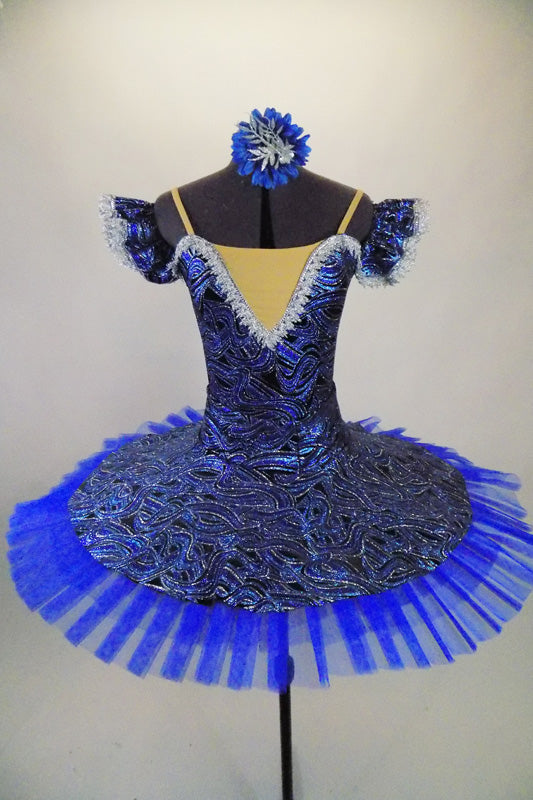 Royal blue velvet base with silver glitter swirl pattern has Russian style bodice & matching circular overlay Has 6 layer blue pleated professional pancake tutu. Comes with hair accessory. Front