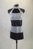Sequined tunic dress has wide stripes of silver and charcoal with high neck open chest halter style cut. comes with matching hair accessory. Front
