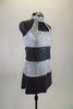 Sequined tunic dress has wide stripes of silver and charcoal with high neck open chest halter style cut. comes with matching hair accessory. Side