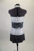 Sequined tunic dress has wide stripes of silver and charcoal with high neck open chest halter style cut. comes with matching hair accessory. Back