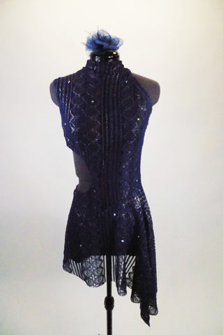 Navy blue geometric lace leotard dress has flecks of gold & crystals scattered throughout & lace skirt. Cut-out side extends to open back held by 3 straps. comes with hair accessory. Front
