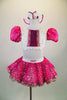 2-piece fuchsia & white costume has white half-top with pleated ruffles, sequined fuchsia center & pouf sleeves. Skirt has crinoline & fuchsia beaded overlay. Comes with matching hair bows. Front