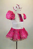 2-piece fuchsia & white costume has white half-top with pleated ruffles, sequined fuchsia center & pouf sleeves. Skirt has crinoline & fuchsia beaded overlay. Comes with matching hair bows. Side