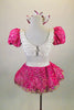 2-piece fuchsia & white costume has white half-top with pleated ruffles, sequined fuchsia center & pouf sleeves. Skirt has crinoline & fuchsia beaded overlay. Comes with matching hair bows. Back