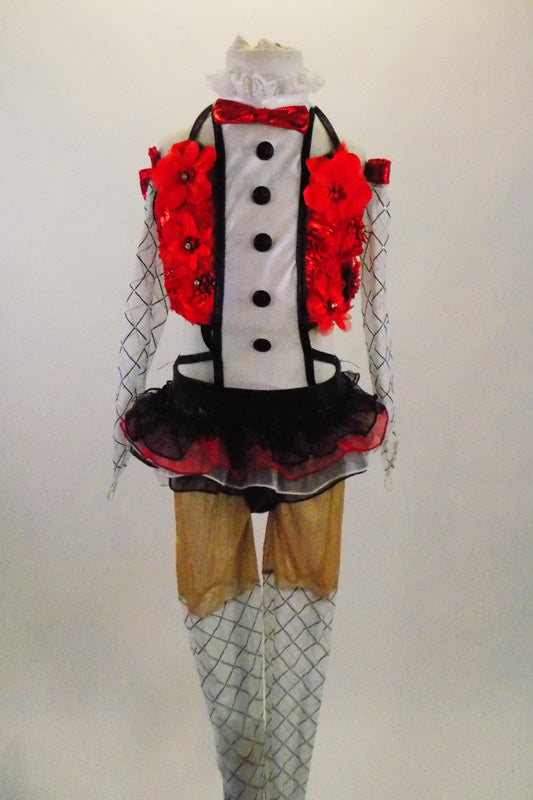 Red metallic halter half top has red 3-D flowers,bow tie, ruffled tuxedo lapel that attaches to the skirt of black & red ruffles. Comes with tights & gauntlets. Front