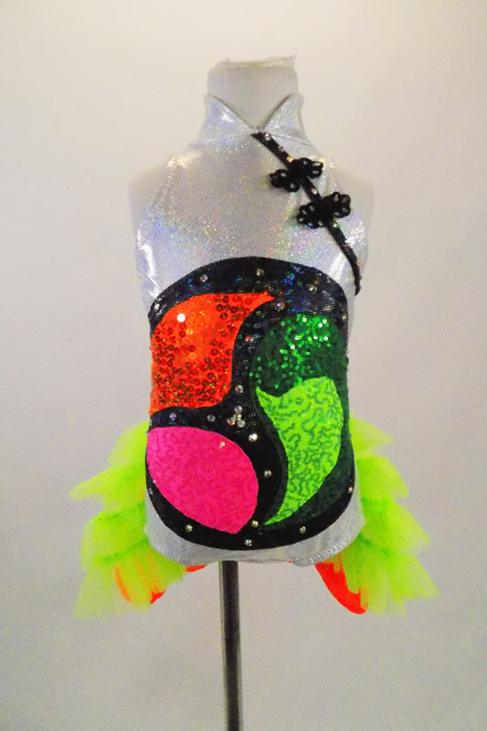 Silver based leotard with mandarin collar has colorful Tomoe symbol on torso. Costume has kimono influence & back that has a fish-tail Obi & neon green tulle. Front