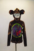 Brown metallic monkey themed costume has colorful animal print circular front insert and ears. Has attached hood s that zips up from the back & secured tail. Front