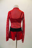 2-piece costume is a large mesh red short unitard with jeweled zip front & shiny red bottom. Below the mesh is a black sequined bra top that matches belt. Comes with crystal hair barrette. Back
