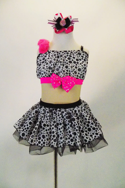 Black u0026 white spotted chiffon dress has nude mesh mid-torso black sequin back & Barbie Girl. Black u0026 White Spotted Costume with Pink Accents For ...