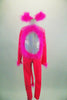 Neon pink full unitard with silver diamond pattern has long sleeves & open back. the iridescent torso, cuffs and ears are edged with pink marabou feathers. Front
