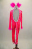 Neon pink full unitard with silver diamond pattern has long sleeves & open back. the iridescent torso, cuffs and ears are edged with pink marabou feathers. Back