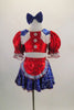 2-piece costume has a bright red half top with pouf sleeves, white fringed blue lasso print epaulets & buttons. Matching skirt has crinoline & red apron. Comes with blue hair bow. Front