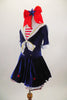 Dark blue velvet dress has white crinoline & red star accents. The large white naval collar has front tie & striped inlay. Collar hash gold piping & red stars. Comes with large red hair bow. Left side