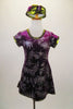 Purple velvet tunic dress has glitter silver fern leaf patterns throughout. The banding is a metallic olive green. Comes with matching pill hat. Front