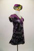 Purple velvet tunic dress has glitter silver fern leaf patterns throughout. The banding is a metallic olive green. Comes with matching pill hat. Side