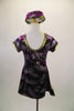 Purple velvet tunic dress has glitter silver fern leaf patterns throughout. The banding is a metallic olive green. Comes with matching pill hat. Back