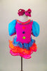 Bright pink clown themed leotard dress has turquoise pouf sleeves, neck ruffles & buttons. Skirt is layers of turquoise orange & pink sequined ruffles. Comes with hair bow. Front