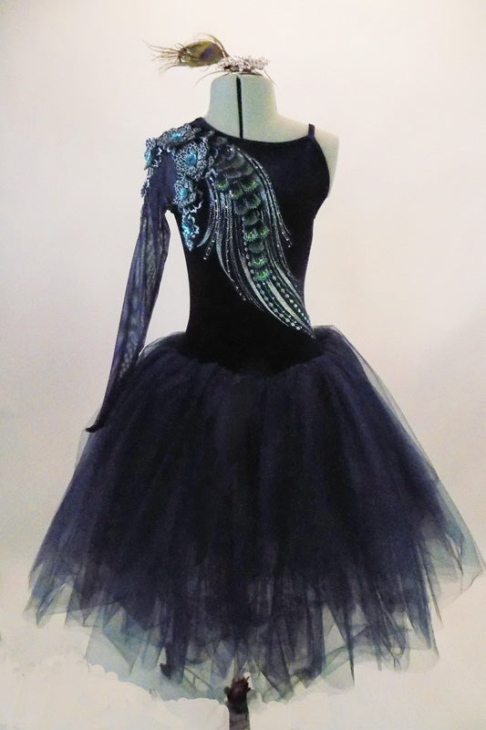 Stunning navy blue velvet full romantic tutu has one shoulder long sleeved bodice accented with 3-D lace of blue floral & green-silver peacock tail feathers. Comes with hair accessory, Front