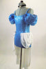 Cinderella themed costume is a blue sequined camisole leotard with long white attached open front chiffon skirt cascading from crystal jeweled brooch at hip. Left side