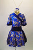 Kimono inspired costume has royal blue & gold  dragon print with deep blue velvet trim.  Blue velvet waist attaches the skirt. Comes with chopstick barrette. Front