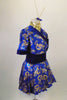 Kimono inspired costume has royal blue & gold  dragon print with deep blue velvet trim.  Blue velvet waist attaches the skirt. Comes with chopstick barrette. Right side