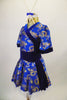 Kimono inspired costume has royal blue & gold  dragon print with deep blue velvet trim.  Blue velvet waist attaches the skirt. Comes with chopstick barrette. Left side