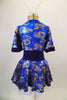 Kimono inspired costume has royal blue & gold  dragon print with deep blue velvet trim.  Blue velvet waist attaches the skirt. Comes with chopstick barrette. Back
