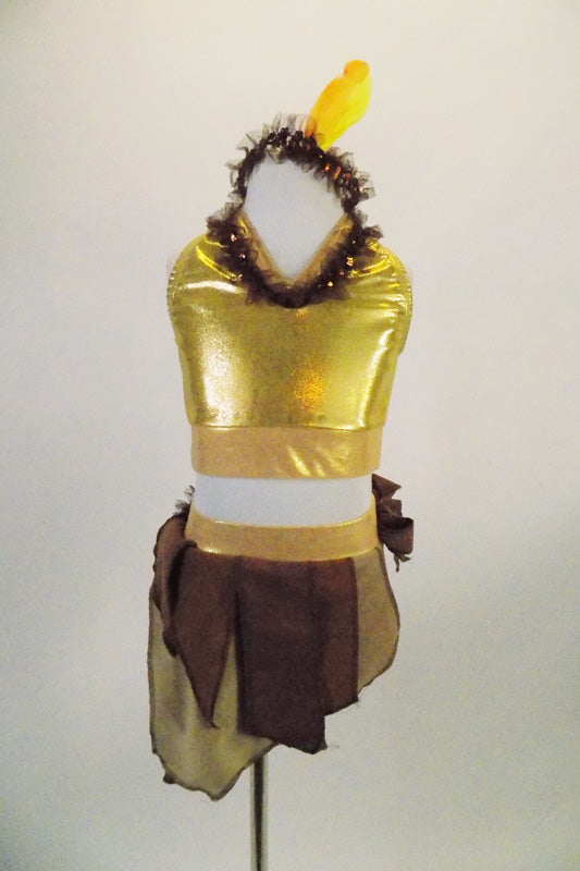 2-piece costume has gold half-tank with keyhole back and brown sequined neckline. Matching skirt has gold brief with angled pieces of brown & beige fabric. Comes with feather headband. Front