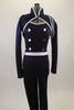 Lined navy stretch unitard has a naval theme with white piping. Open short jacket has epaulet loops to hold the white braided rope. Torso has silver buttons. Front