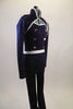 Lined navy stretch unitard has a naval theme with white piping. Open short jacket has epaulet loops to hold the white braided rope. Torso has silver buttons. Right side