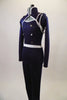 Lined navy stretch unitard has a naval theme with white piping. Open short jacket has epaulet loops to hold the white braided rope. Torso has silver buttons. Left side