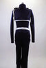 Lined navy stretch unitard has a naval theme with white piping. Open short jacket has epaulet loops to hold the white braided rope. Torso has silver buttons. Back