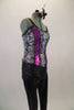 Iridescent snake skin print, lace back corset top has fuchsia vertical stripes along bust edged with rhinestone piping. Comes with matching black pants, lace up wrist gauntlets and hair accessory. Right side