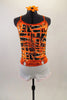 Black & orange abstract lattice print camisole leotard has white bottom. White cotton short sits over top of the leotard & has a bright orange hooped belt. Comes with matching hair accessory. Front