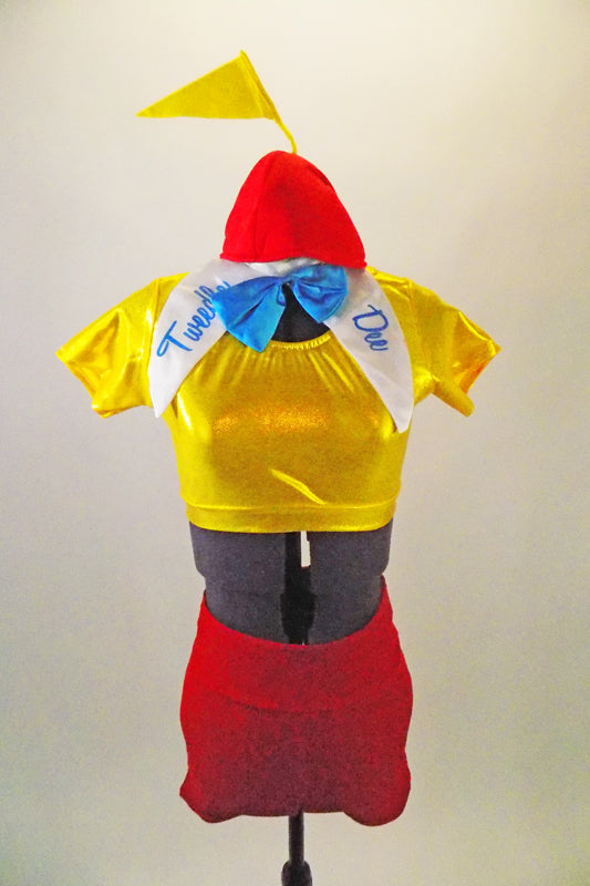Alice in Wonderland themed costume has yellow short sleeved half-top & red high waist shorts. There is a detachable large white collar with name & beanie hat. Front
