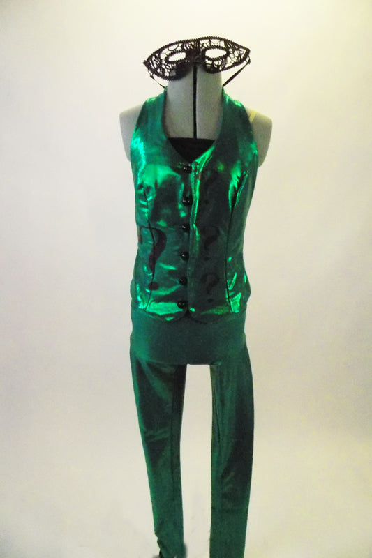 Shiny green 3-piece costume comes with legging style pant, black camisole half-top & vest adorned with black question marks and loop closure bubble buttons. Comes with black lace mask. Front